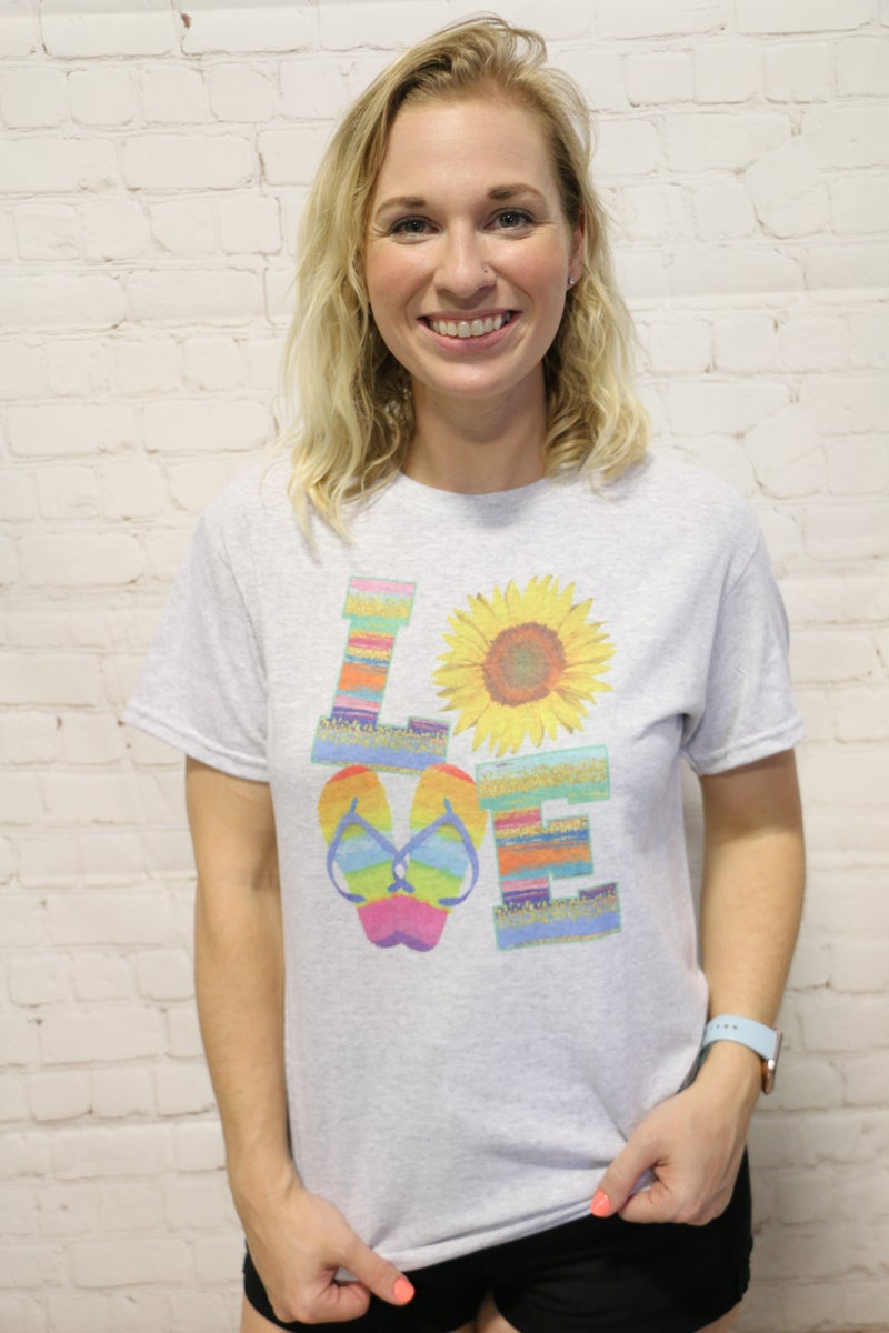 Loving Summertime Graphic Tee In Gray- Sizes 4-12