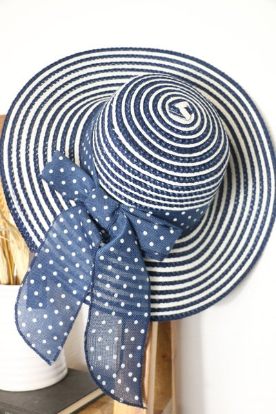 Garden Party Adjustable Striped Straw Hat With Polka Dot Bow In Multiple Colors