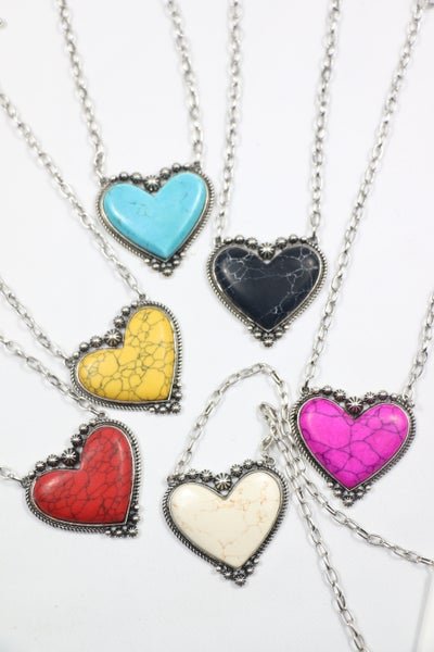 Oh My Heart Short Silver Necklace With Large Stone Heart In Multiple Colors