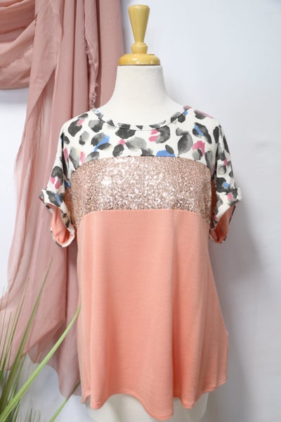Walking on Sunshine Coral Top with Leopard and Sequin Accent - Sizes 12-20