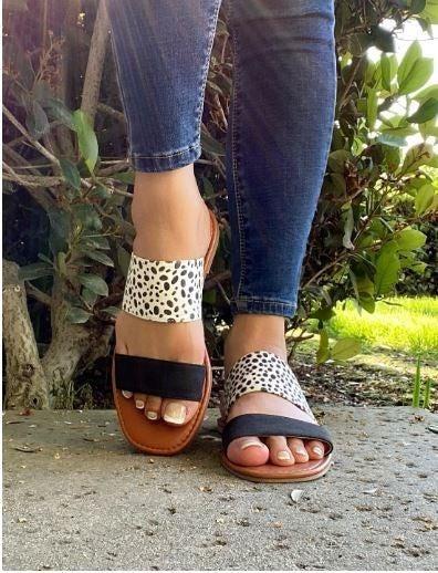 Puuuure Perfection Black Leopard Slip on Sandal - Sizes 5.5 - 10
