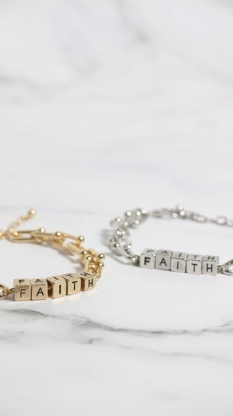 FAITH  Letter Block And Link Bracelet In Multiple Colors
