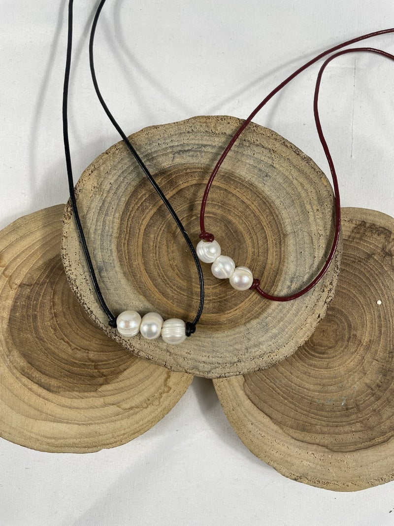 Ask Me How Leather Strap Short Necklace With 3 Pearl Pendant In Multiple Colors