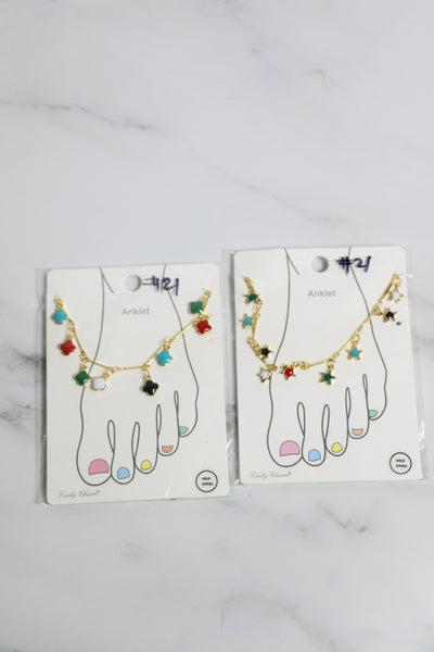 Summer Fun Gold Ankle Bracelet With Multicolor Charms In Multiple Shapes
