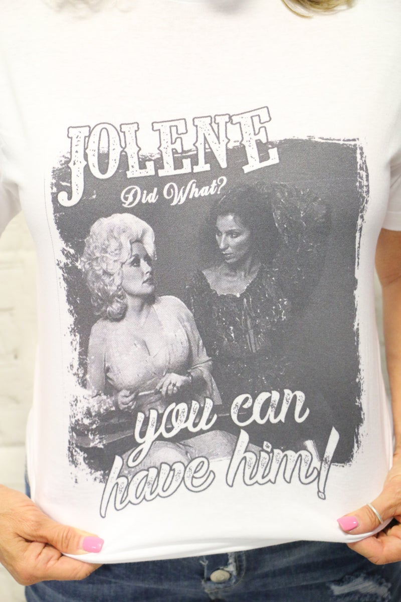 ***PRE-ORDER*** Jolene Did What? Dolly Tee in White - Sizes 4-18
