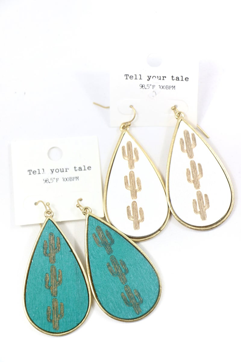 Too Much Gold And Wood Teardrop Earring With Cactus Detail In Multiple Colors