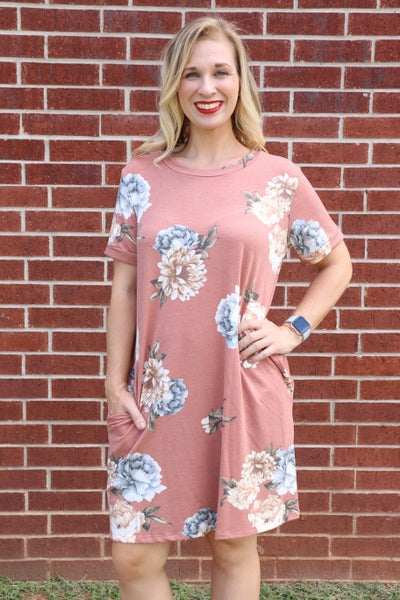 More To Love Floral Dress in Mauve - Sizes 4-10