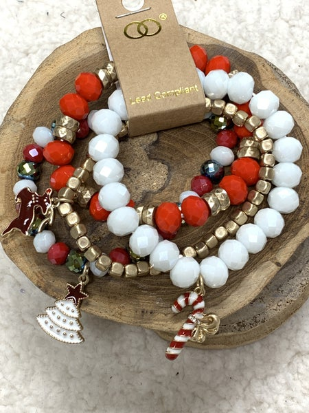 Visions Of Christmas 4 Strand Beaded Bracelets With Christmas Charms In Multiple Colors