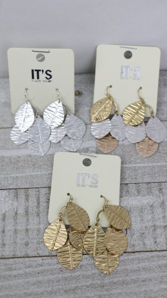 Autumn Breeze Metal Leaf Earrings In Multiple Colors