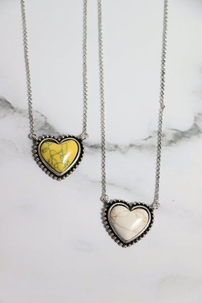 Hearts Aglow Short Necklace With Stone Heart Pendant In Multiple Colors