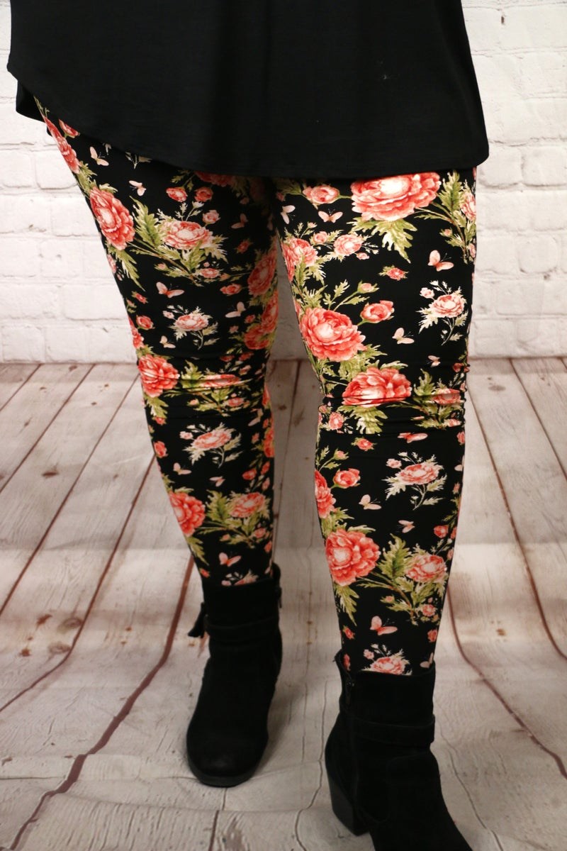 Sweetest Flower in the Bunch Black Legging with Rose - Sizes 12-20