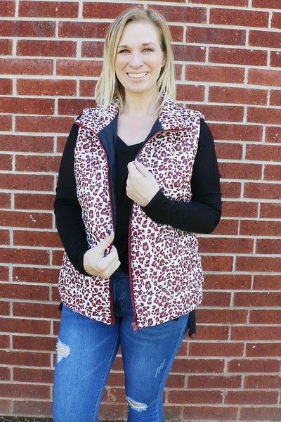 Something Special Wine Colored Leopard Print Puffer Vest - Sizes 4-10