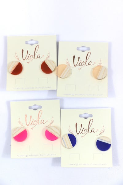 First Chance Small Round Wood And Acetate Stud Earring In Multiple Colors