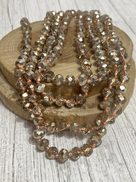 Golden Peach Point of Perfection Beaded Necklace