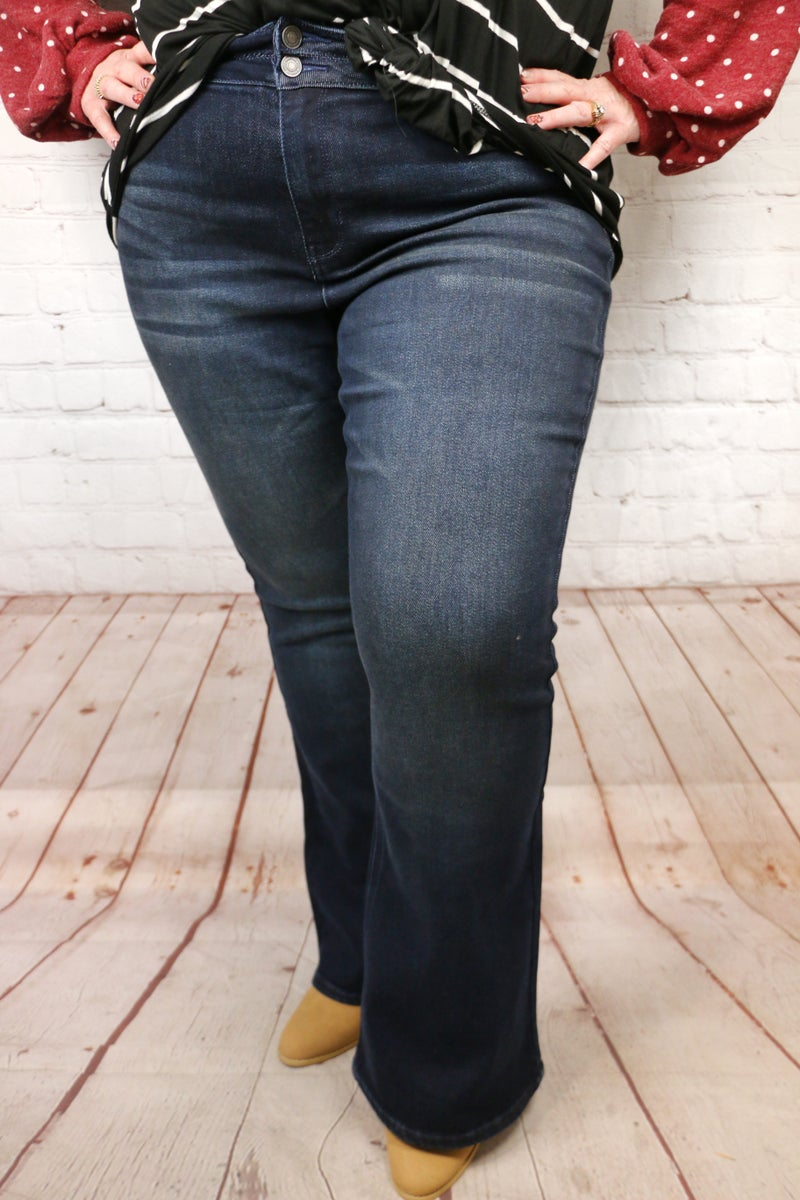 The Peyton Kan Can Stacked Waist Flare Dark Denim - Sizes 12-20