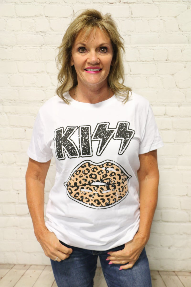 ***PRE-ORDER*** Rock & Roll Kiss Leopard Lips Graphic Tee In White- Sizes 4-12