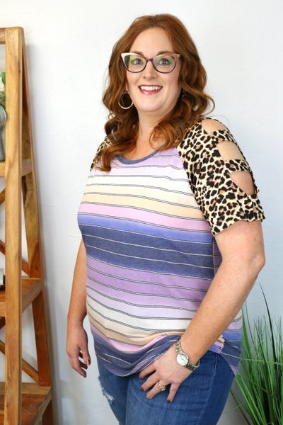 Show Your Heart Stripe and Leopard Top Sizes 12-20