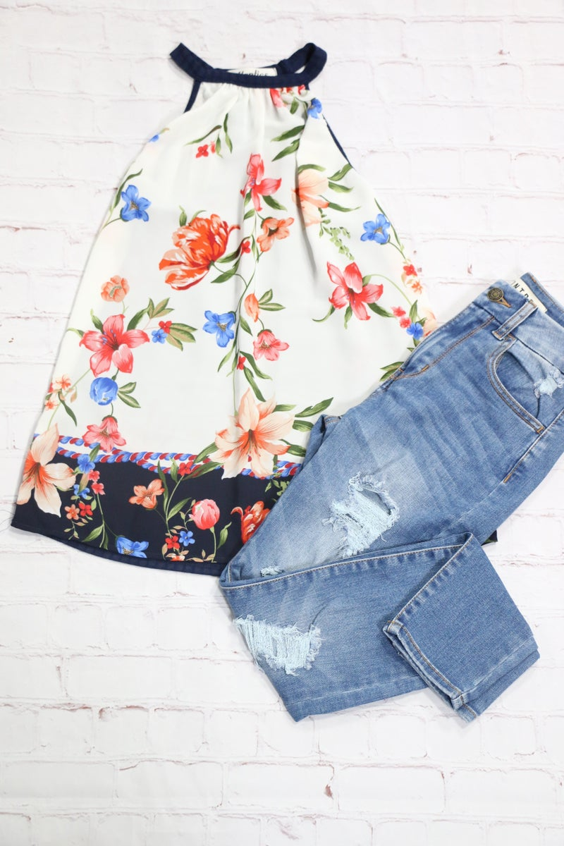 Love Beyond Words Floral and Navy Halter Top - Sizes 4-10