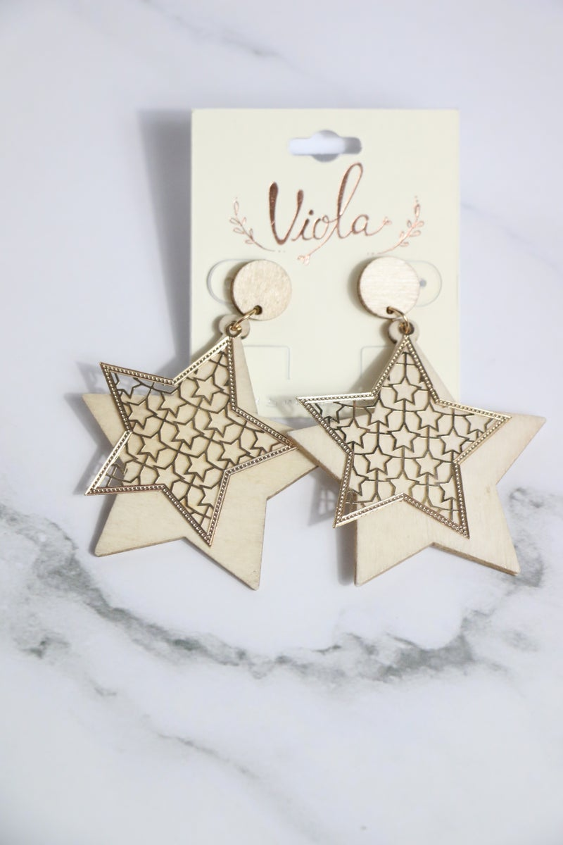 It's A Win Double Layer Wood And Gold Metal Star Earring In Multiple Colors