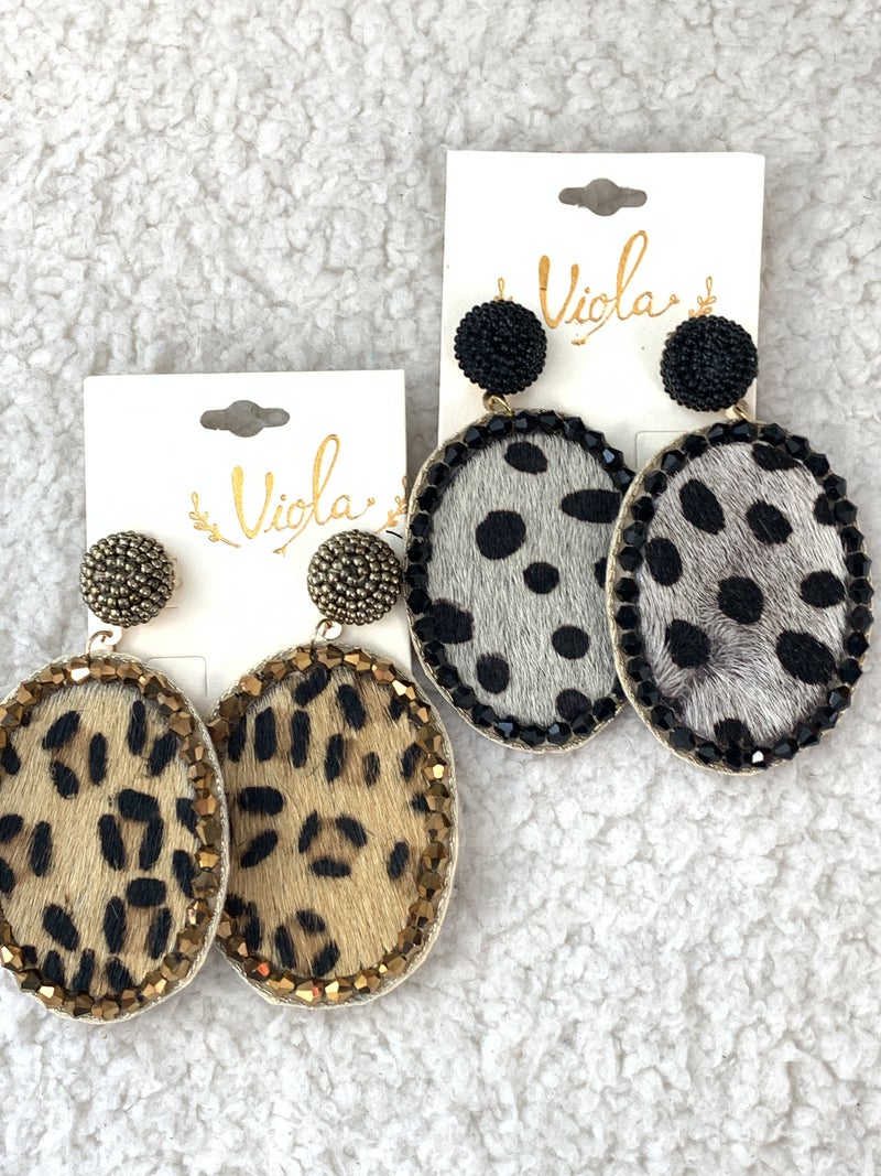 Here She Comes Large Oval Leopard Pony Hair Earring With Crystal Trim And Seed Bead Post In Multiple Colors