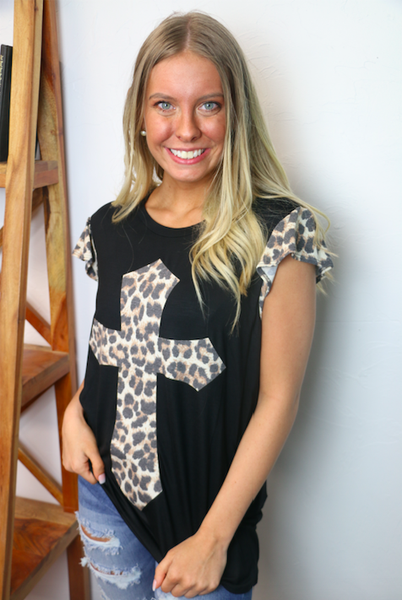 Full of Faith Black Short Sleeve Top with Leopard Cross and Accent Sleeve - Sizes 4-20
