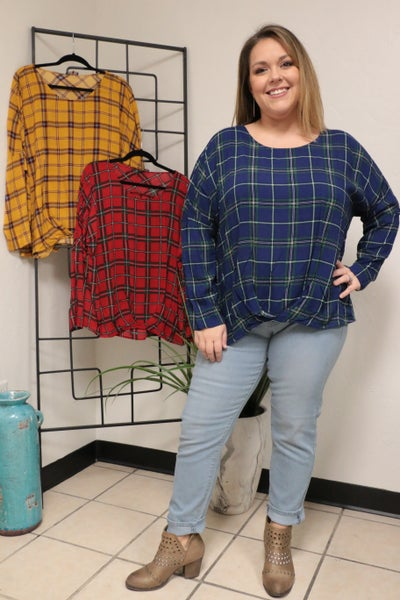 Hold Back the River Plaid Shirt with Gathered Waist in Multiple Colors  - Sizes 12-20