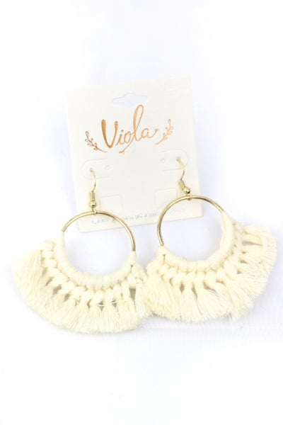 Fringe Benefits Gold Hoop Earring With Thread Knotted Tassel In Ivory