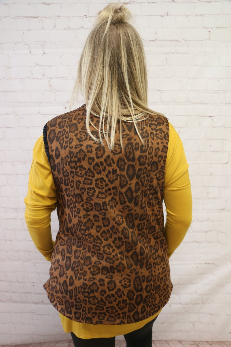 The One You Want Sherpa Leopard/Black Reversible Vest - One Size Fits Most