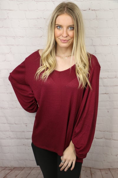 Put it All Together Waffle Knit Bubble Sleeve Top in Multiple Colors - Sizes 4-12