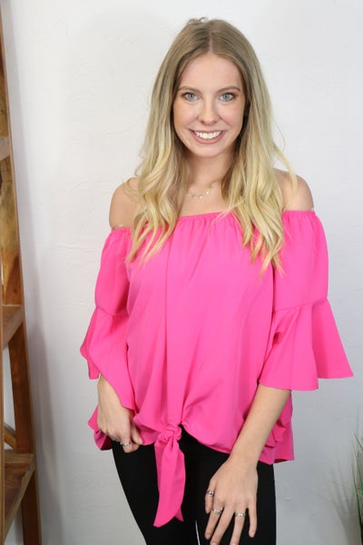 Surprise Me Fuchsia Off the Shoulder Bell Sleeve Top with Knotted Detail- Sizes 4-10