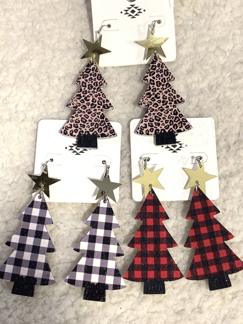 Oh Christmas Tree Wood Christmas Tree Earring In Multiple Colors