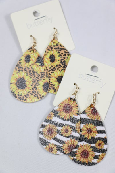 All The Pretty Flowers Leather Teardrop Sunflower Earring With Multiple Animal Prints