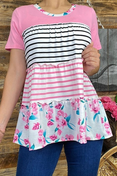How Sweet the Sound Tiered Striped and Floral Babydoll Top - Sizes 4-12