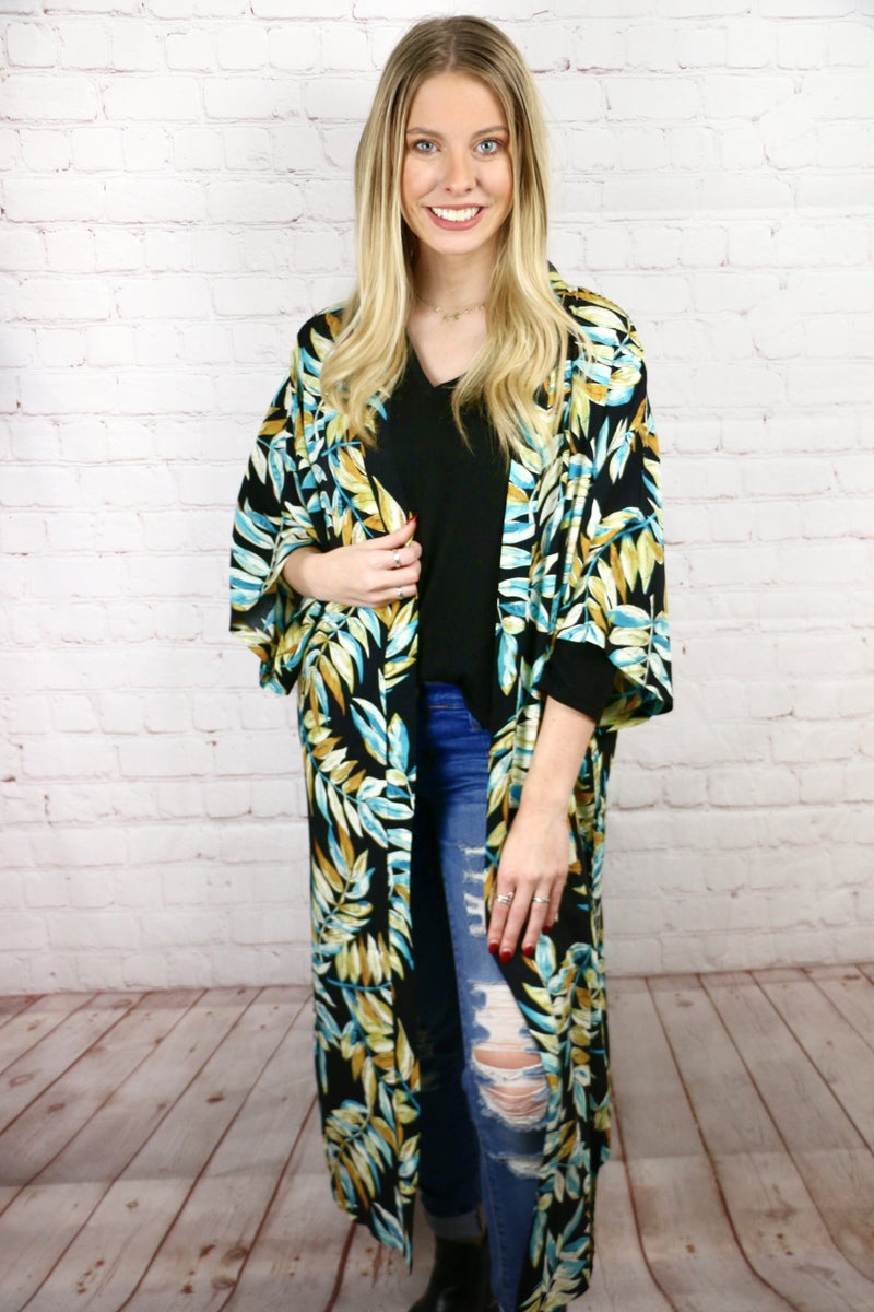 Jungle Fever Black Kimono with Mustard and Turquoise Leaf Print - One Size