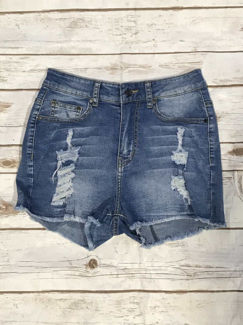 Take It Easy Medium Wash Distressed Denim Short with Frayed Hem - Sizes 4-12