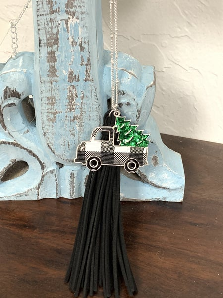 Tree Farm Long Silver Necklace With Buffalo Plaid Truck And Christmas Tree In Multiple Colors
