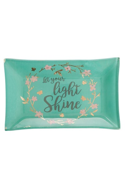 Let Your Light Shine Glass Trinket Tray