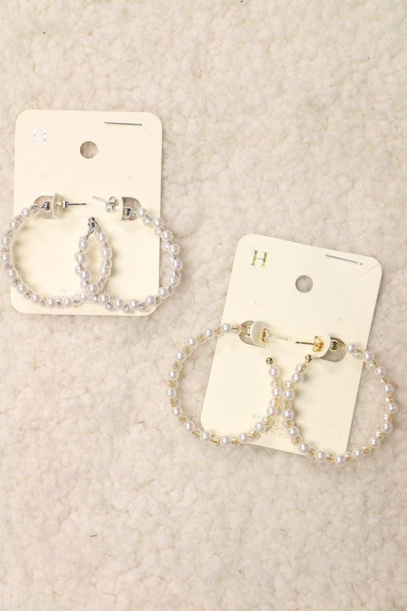 Simple Elegance Pearl Beaded Hoop Earring In Multiple Colors