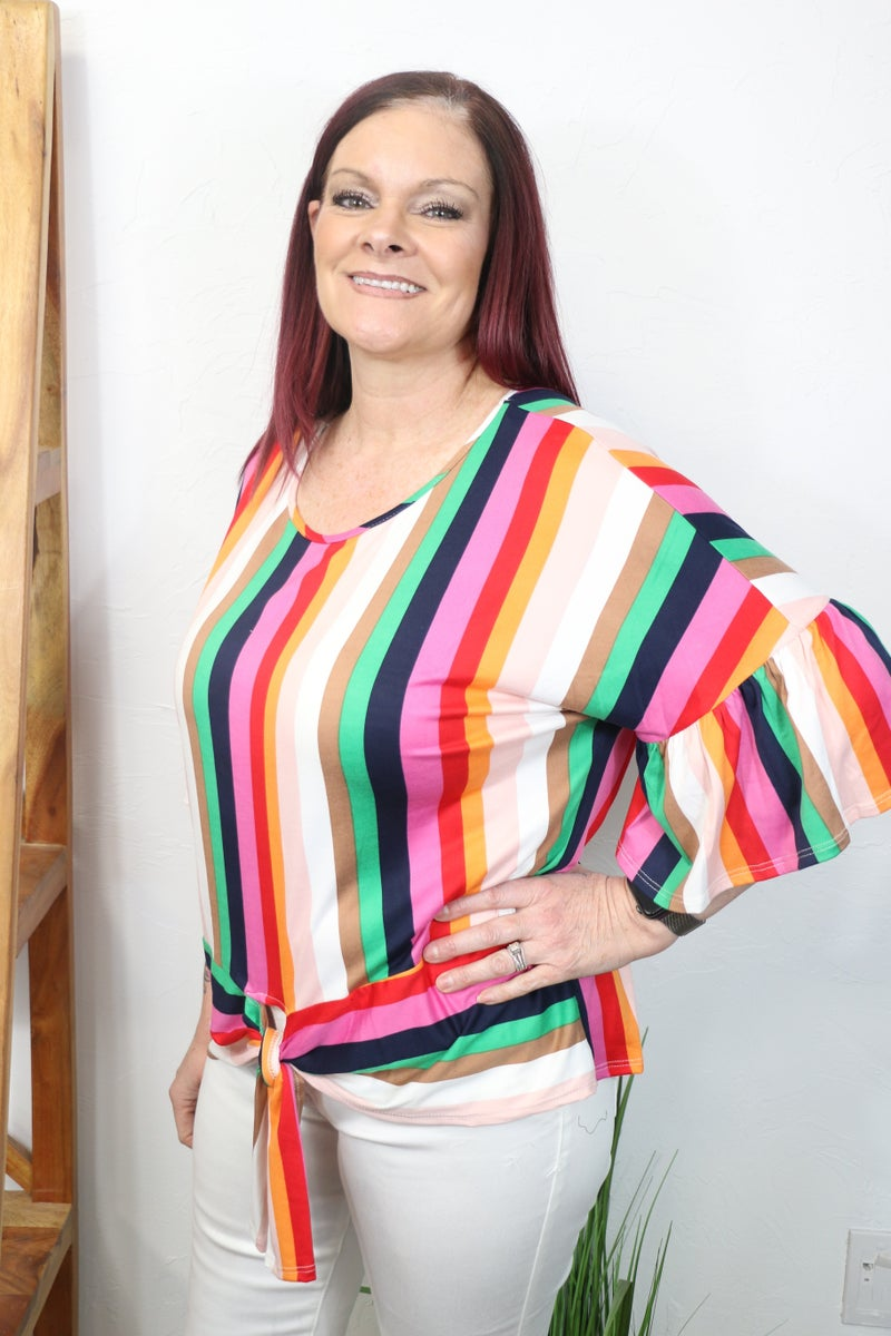 Hello Beautiful Colorful Striped Top with Bell Sleeves - Sizes 12-20