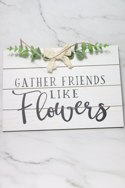 Wooden Slat Garden Sign With Greenery And Bow In Multiple Sayings