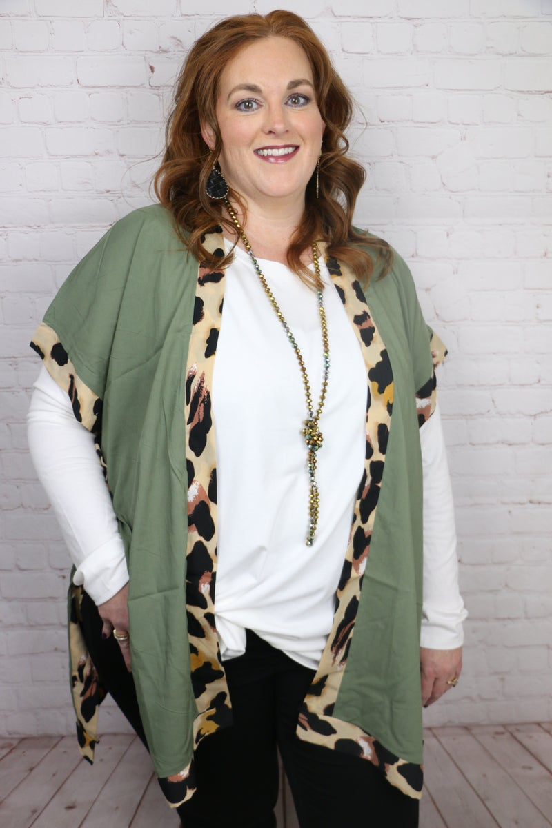 All For Fun Kimono With Leopard Trim In Multiple Colors- One Size