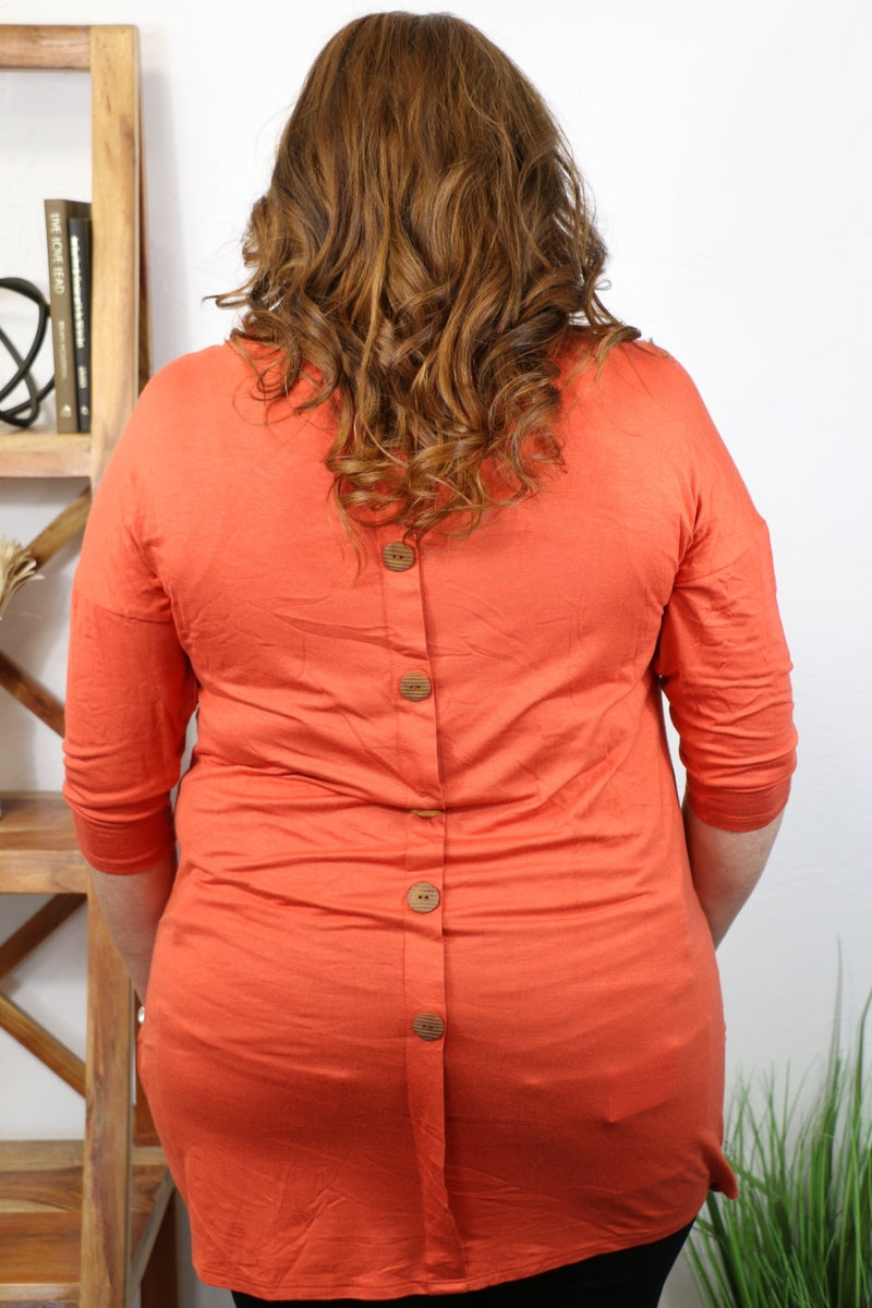 Remember When Three Quarter Sleeve Top with Faux Wooden Buttons on Back in Multiple Colors - Sizes 12-20