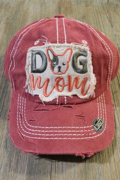 Dog Mom With French Bulldog Distressed Hat In Multiple Colors