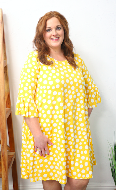 It's a Wonderful Life Yellow Polka Dot Ruffle Sleeve Dress - Sizes 12-20