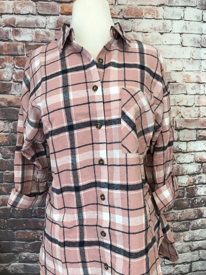 Pink Button Down Flannel - Sizes 4-10