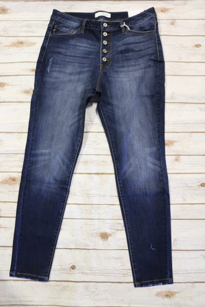 The Mary Dark Denim Kan-Kan Jeans With Light Distressing- Sizes 12-20