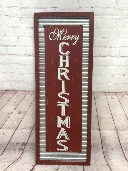 Merry Christmas Distressed Red Wood And Galvanized Metal Wall Sign