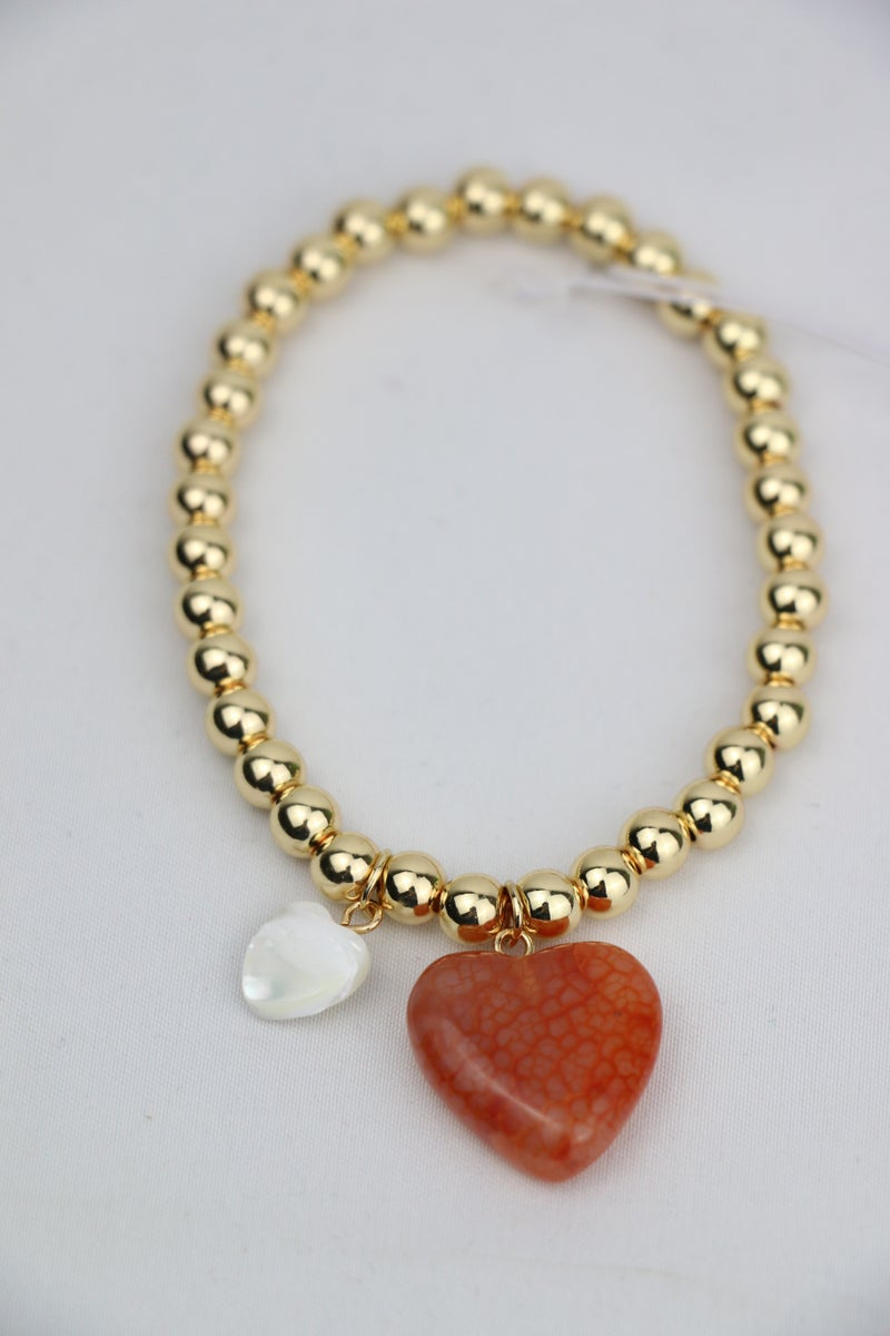 Two Hearts Gold Beaded Bracelet With Stone Heart Charms