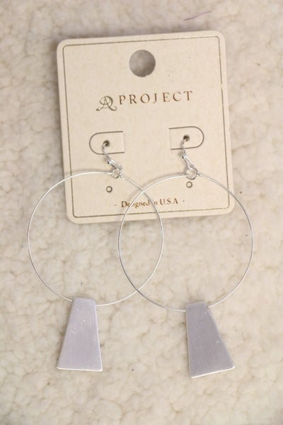 Say The Word Silver Hoop Earring With Brushed Silver Pendant