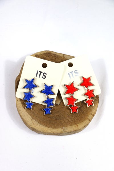 Shooting Stars Cascading Thread Star Earrings In Multiple Colors